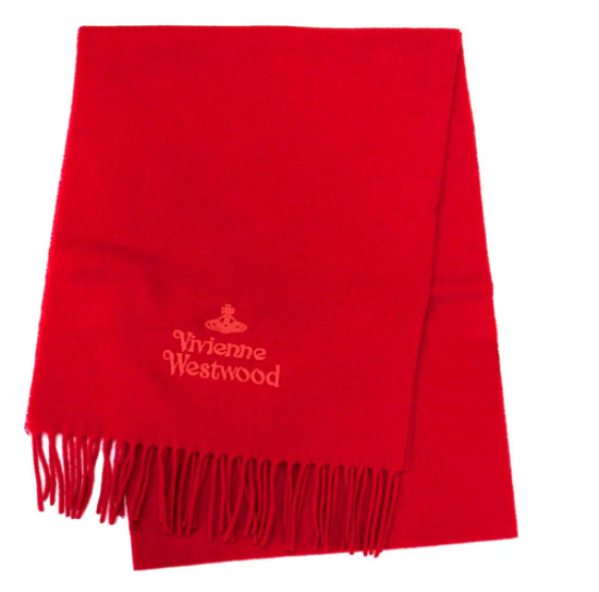 Vivienne Westwood マフラー H401 レッド ロゴ同色刺繍 無地 男女兼用 [並行輸入品]
