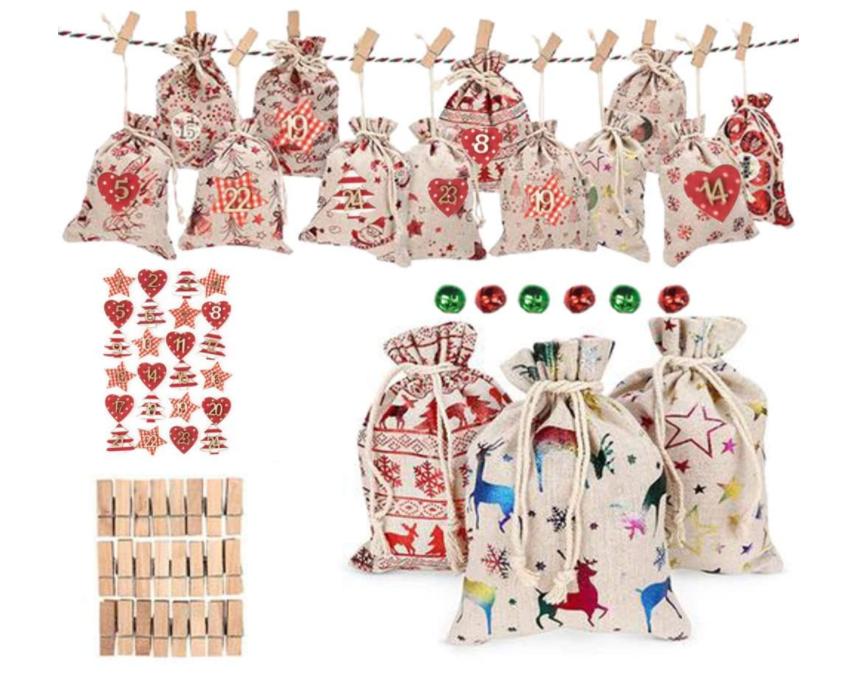 クリスマスのギフト袋 キャンディ 貯蔵の巾着袋、24ポケット、キャンバスの巾着袋、子供のための技術の詰物を満たすためのアドベント カレンダー