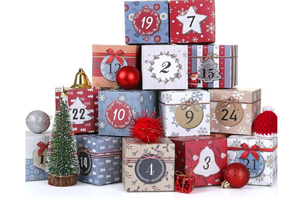 LIHAO アドベントカレンダー 2020 ギフトボックス クリスマスカレンダー カウントダウン ボックスカレンダー プチギフト プレゼント ラッピング ペーパーボックス Christmas Advent Calendar