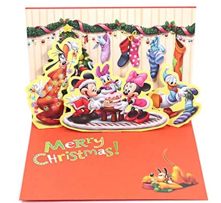 クリスマスカード 洋風 二つ折りポップアップ ディズニー ミッキーとリース XAR-780-159 (HX026) ホールマーク Christmas card グリーティングカード