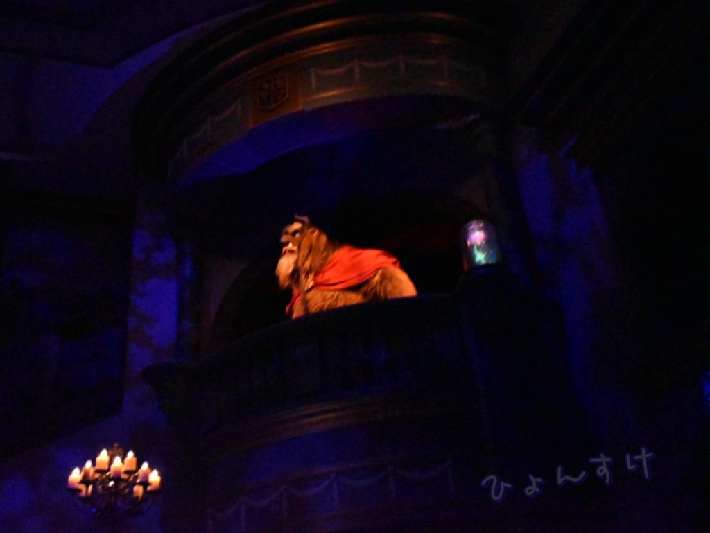 """美女と野獣""""魔法のものがたり""""待ち列(キューライン)プレショー"""