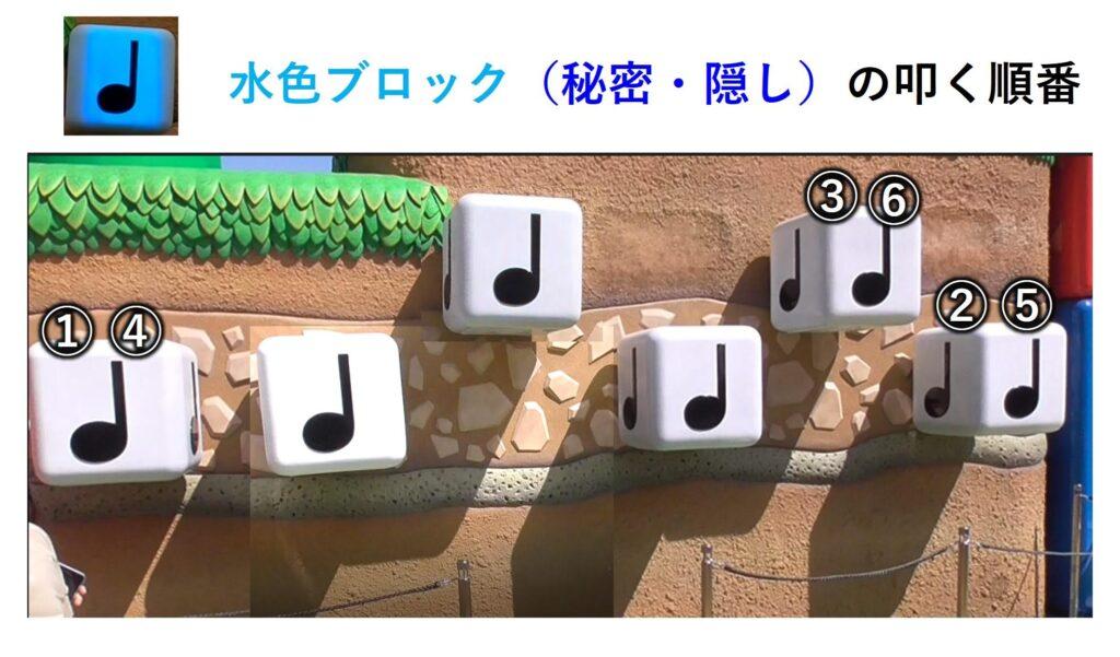 USJ マリオエリア 音符ブロック 隠しコマンド 水色